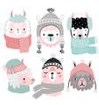 cute llamas in winter clothes childish alpaca vector image vector image