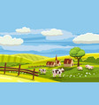 cute rural landscape with farm cow flowers vector image vector image