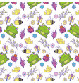 cute toads and tenders icons pattern vector image