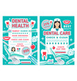 dental clinic and dentistry discount offer poster vector image vector image