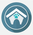 dog house icon on white circle with a long shadow vector image vector image