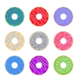 Donut icon set colorful vector image