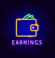 earnings purse neon label vector image