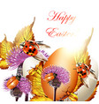 easter greeting background with eggs and ladybirds vector image