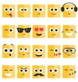 Emotional square yellow faces set vector image vector image