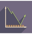 Flat web icon with long shadow economic graph vector image vector image
