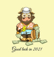 funny babull with a suitcase full dollars in vector image vector image