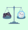 game controller and clock on scales vector image