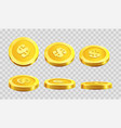 golden coins dollar cent in different angle icons vector image