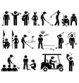 golf player actions poses stick figure pictograph vector image vector image
