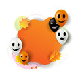 happy halloween banner with balloons white vector image