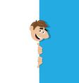 happy manpeek out from behind the wall vector image vector image