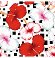 hibiscus seamless black square white background vector image vector image