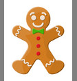 holiday gingerbread man cookie vector image vector image