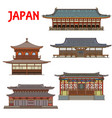 japanese temples japan buildings pagoda houses vector image vector image