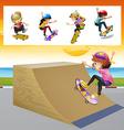 kids playing skatboard on ramp vector image