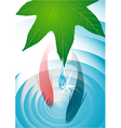 leaf with drops and fish vector image vector image