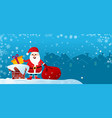 merry christmas flyer santa claus on roof vector image vector image