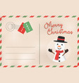 merry christmas retro snowman holiday postcard vector image vector image