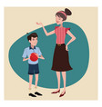 mother and son vintage background vector image
