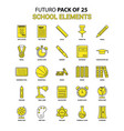 school elements icon set yellow futuro latest vector image vector image