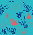 seamless pattern flora of the oceans vector image