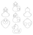 set black and white images with a toy duck vector image vector image