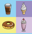Tasty coffee donut and ice cream vector image