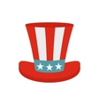 Top hat in the USA flag colors icon flat style vector image