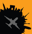 travel city with airplane vector image vector image