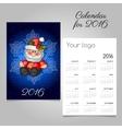 Vintage calendar with Santa and snowflake vector image
