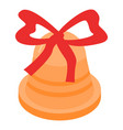 xmas gold bell icon isometric style vector image