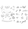 Baby doodle icons set vector image