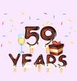 59th years happy birthday card vector image