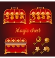 Set of magical red chests and golden keys vector image