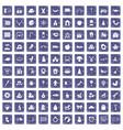 100 nursery school icons set grunge sapphire vector image vector image