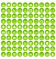 100 summer icons set green circle vector image vector image