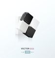 3D Cube twist black and white vector image vector image