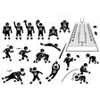 american football player actions poses stick vector image