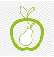 apple fruit with pear isolated icon design vector image