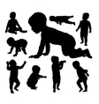 Baby playing silhouettes vector image vector image