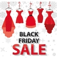 Black friday SaleRed Party dresses snowflakes vector image