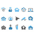 blue color home security icons set vector image vector image