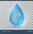 blue shiny single water drop vector image vector image