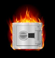 burning steel safe on black background vector image vector image