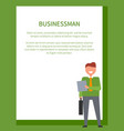 businessman poster frame for text and smiling man vector image vector image