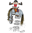 cartoon horse throws off a rider vector image vector image