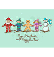 Christmas and New Year card with Santa Claus vector image