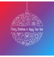 christmas ball with line icons vector image