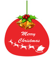 Christmas card template with mistletoes and bell vector image vector image